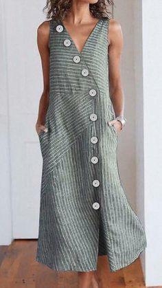 v neck color-block buttoned Sleeveless Plain Dresses – mofylook Casual Dresses, Fashion Dresses, Summer Dresses, Look Rock, Plain Dress, Outfit Trends, Mode Inspiration, Pulls, Striped Dress