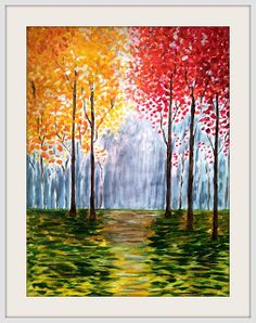 Fall painting... make it play into our house by making the treetops blue and yellow, the trunks gray, and the floor brown and gray.