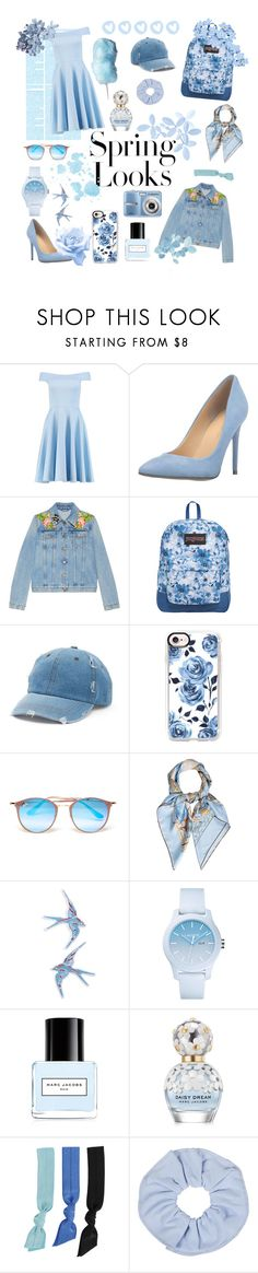 """""""Spring Blue"""" by rather-be-surfing ❤ liked on Polyvore featuring H&M, Boohoo, Ivanka Trump, Gucci, JanSport, Mudd, Casetify, Ray-Ban, Hermès and Topshop"""