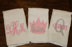 Princess set of 3 monogrammed/appliqued burp cloths-baby boy baby girl gift-baby…