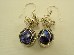 Sterling Silver Wire Wrapped Dichroic by SilverStringsStrands, $30.00