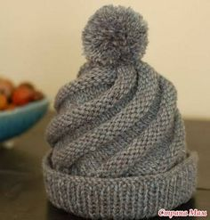Image result for knitted spiral hat pattern