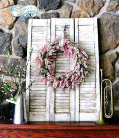 Old Shutter and Wreath Decoration