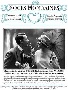 Mariages Rétro: Création téléchargeable : En-tête rétro pour gazette de mariage Monsieur Jean, Gazette, Gatsby Wedding, Marie, Couples, Movie Posters, Fictional Characters, Cake Simple, Thierry