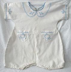 Vintage 1950's - 1960's baby boy one piece outfit...sweet and unique!  embroider