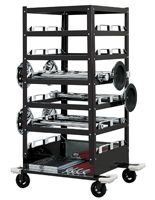 18 Post Stanchion Cart, Built-In Storage Tray, Locking Wheels - Black