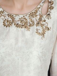 Ivory-Golden Gota-Patti Embellished Khari Block Printed Chanderi Layered Kurta
