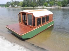 """In this post I'm going to show you a micro houseboat that you can probably build. One of my favorite things about tiny houses, micro cabins, and """"alternative"""" structures is that you can get as crea. Trailerable Houseboats, Small Houseboats, Camping, Cabana, Shanty Boat, Houseboat Living, Pontoon Houseboat, Pontoon Boats, Atelier D Art"""
