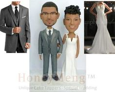 wedding cake toppers head to toe personalized made by HoneyMeng Personalized Wedding Cake Toppers, Head To Toe, Groomsman Gifts, Party Gifts, Groomsmen, Bridesmaid Gifts, Wedding Cakes, Trending Outfits, Handmade Gifts