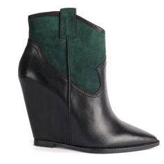Ash JUDE black leather and green suede wedge boots