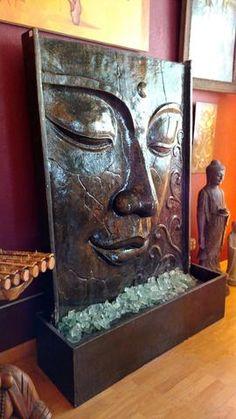 brunnen wasserfall buddha kopf mit led beleuchtung ideen rund ums haus pinterest buddha. Black Bedroom Furniture Sets. Home Design Ideas
