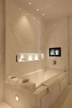 Home decoration live is the one of the best led lighting service company in USA that offers you led ceiling lighting , led downlights etc. Good idea to have recessed shelves, perhaps track lighting on the bottom of the bathtub, and lighting behind the mirror.