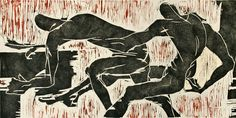 'Conflicted Figures' (2010) by Seattle-based American artist & printmaker Charles Spitzack. Woodcut, 15.75 x 31.5 in. via Davidson Galleries