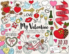 75 hand drawn Valentines Day, love, heart clipart doodle mega bundle. Set includes doodle illustrations of hearts, arrows, balloons, Valentines Day candy box, gifts, teddy bears, bicycles, love letters, cupcakes, sweets, heart lollipops, lovebirds, flower bouquet, roses, heart candy, love doves, champagne glasses, wine bottle, 14th February calendar, kisses, lips, lispstick, rings, keys, heart shaped padlock and many more love themed illustrations. Each image is hand drawn and then colored…