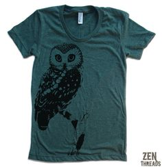 Womens URBAN OWL T Shirt american apparel S M L XL by ZenThreads, $18.00