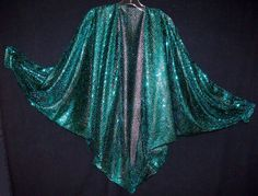 Teal Green Sequins on Sheer Black Lame Knit Draped by NinaCorrea