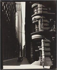 Cedar Street, Manhattan, New York City 1936. By Berenice Abbott.
