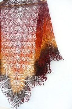 Hand knit shawl wool shawl in brown and orange  Ready to by Sissta, $90.00