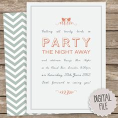 Calling all Birds DIY Party Invitation - Peach blue hot Neon Pink bird typography hen cocktail event