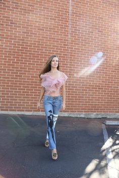 hand painted vintage boyfriend jeans  inspired by New York and Megan Hess fashion illustrations and hand crafted rose top