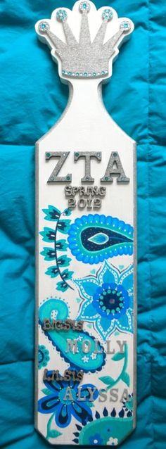 Sorority Paddles | Zeta Tau Alpha | White ZTA paddle in silver and turquoise paisley #crown #greek #biglittle