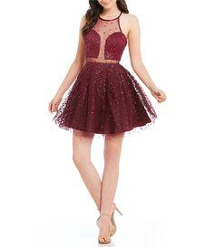 849c16ddc5 Dear Moon Glitter Pattern Illusion Inset Fit and Flare Dress  Dillards