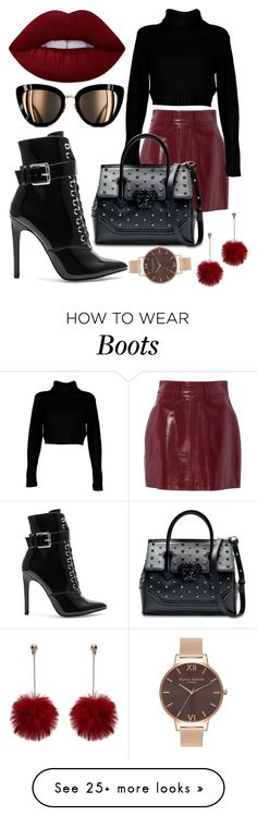 """Black shirt mini skirt"" by brittanylizwatson on Polyvore featuring Boohoo, Danielle Guizio, Lime Crime, Chanel, Versace, Olivia Burton, red, LIPSTICK, Heels and Boots"