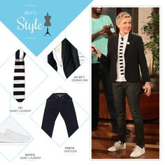 Ellen's Look of the Day: black blazer, white button up shirt, black and white striped square tie, jeans, white sneakers