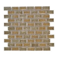 Jeffrey Court 12 in. x 12 in. Hazelnut Butter Crackle Glass Mosaic Tile-99409 at The Home Depot