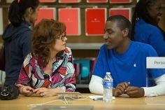 Susan Sarandon and Jerrod Carmichael in The Meddler