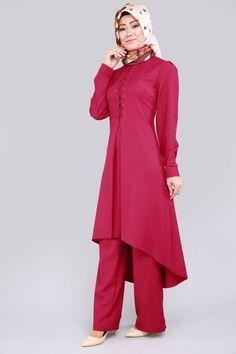 16db130b97bb T.U.A. - Çapraz Bağcıklı 2'li Takım TUA6411 Şarabi Hijab Style, Suits For  Women