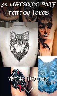 52 Awesome Wolf Tattoo Ideas Wolf Tattoos, Skull Tattoos, Girl Tattoos, Tattoos For Guys, Wolf Tattoo Design, Tattoo Designs, Cool Chest Tattoos, Symbols Of Strength, Feminine Tattoos