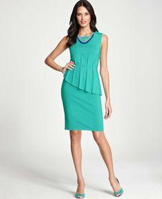 Pintucked Asymmetrical Peplum Dress, Ann Taylor #Easter