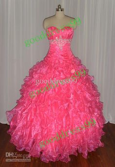 ball gown prom dresses | Stock Pink Sweetheart Prom Dress Ball Gown Organza Quinceanera Dresses ...