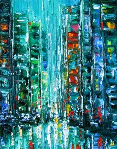 New York City cityscape art painting abstract by Debra Hurd