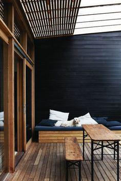A Frame Cabin, Bench Designs, Patio Dining, Outdoor Areas, Little Houses, Outdoor Entertaining, Home Decor Inspiration, Outdoor Living, House Design