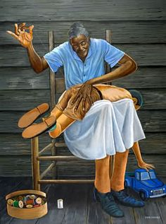 """Grandma's Hands by Ernie Barnes. A work of art that Ernie created for Bill Withers that was inspired by his classic song """"Grandma's Hands"""". It was one of the last commissioned pieces Ernie made before his death."""