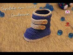 Passo a passo Sapatinho em crochê Guilherme - Professora Simone - YouTube Crochet Baby Boots, Crochet Sandals, Crochet Kids Hats, Knitted Booties, Crochet For Boys, Baby Booties, Chat Crochet, Crochet Cord, Baby Slippers