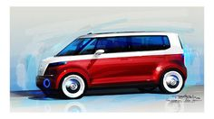 VW Bulli Concept rendering by Tancredi de Aguilar | Car Design Education Tips