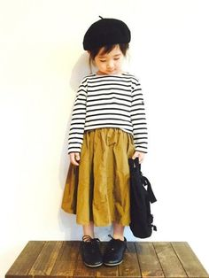 Mustard + black and white stripes = best fall girls outfit....ever