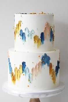 36 Fall Wedding Cakes That WOW ❤ fall wedding cakes white decorated with pearls and hand painted yellow blue abstract soulcakeshop cake decorating recipes anniversaire chocolat de paques cakes ideas