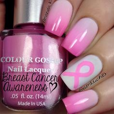 "Here is a manicure to promote breast cancer awareness. Colors used (light to dark): Essie ""Fiji"", Sally Hansen ""Berry Juicy"", J ""Baby Pink"" and @colourgossipnails ""Fashionista"""