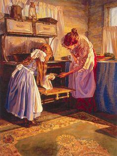 The first pie Sonya Terpening art Mary Cassatt, Illustrations Vintage, Illustration Art, Henri Matisse, Kitchen Art, Western Art, Mother And Child, Beautiful Paintings, Romantic Paintings