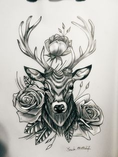 #tattoo #Art #Design #custom #drawing #pencil #vorlage #entwurf #deer #reh #hirsch #rosen