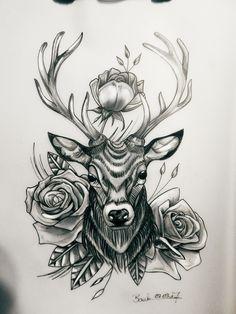 #tattoo #Art #Design #custom #drawing #pencil #vorlage #entwurf #deer #reh #hirsch #rosen