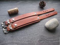 Купить Кожаный браслет Double Dragon - рыжий, кожаный браслет, браслет из кожи, мужской браслет