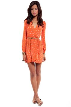 Tobi > Pandora's Boxed Dress  #WrapDressOrangeCoral