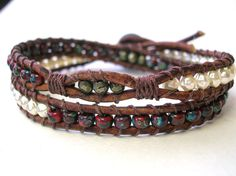 Beaded leather wrap bracelet, stack bracelet boho chic - Skinny Treasures - glass pearls, pyrite, rustic garnet red, Bohemian jewelry, gypsy