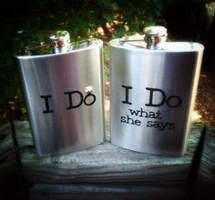 Personalized Flasks, Wedding, 8 oz. each on Etsy, $19.95
