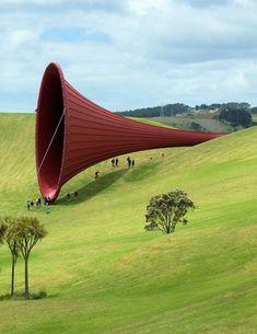 Gibbs Farm sculture park in New Zealand Neil. Anish Kapoor sculpture.